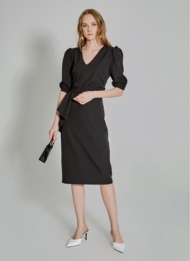 People By Fabrika Peplum Detaylı Elbise Siyah